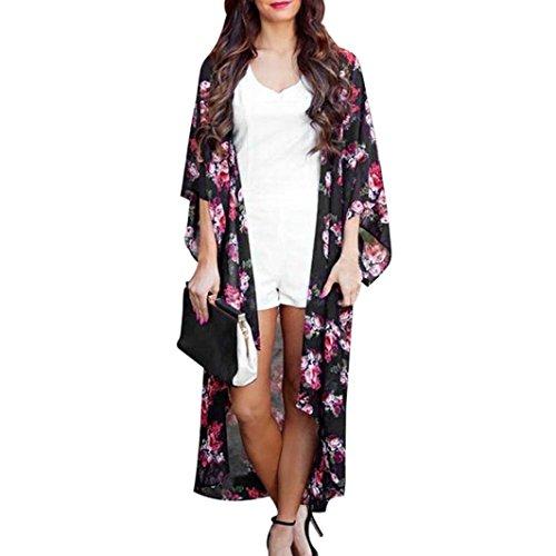Strickjacke damen Kolylong®Frau Sommer Blumig bedruckte Lange Strickjacke Lässiger Mantel Mode Kimono...