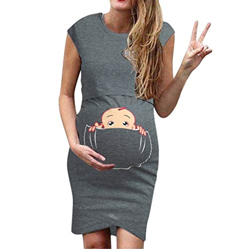 Bfmyxgs🍓Schwangere Frauen Sleeveless Cartoon Cute Print Kleid Stillen Tank Kleid Pyjamas