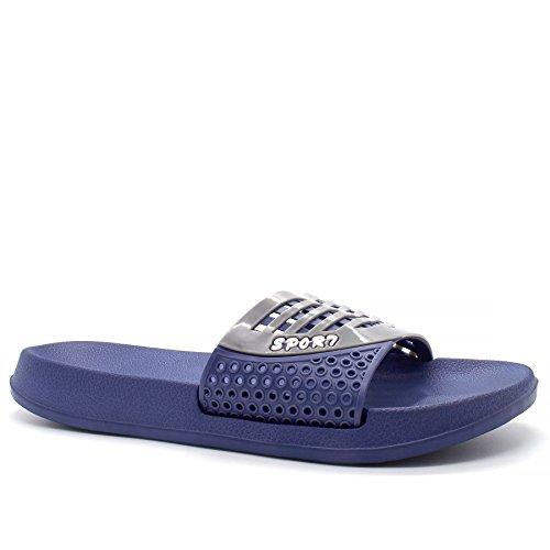 London Footwear ,  Herren hinten offen Blau