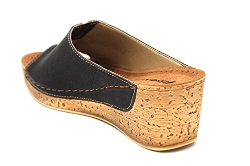INBLU Femme Mule en cuir Wedge plate-forme d'été Sandales Taille 3–8 Noir - noir