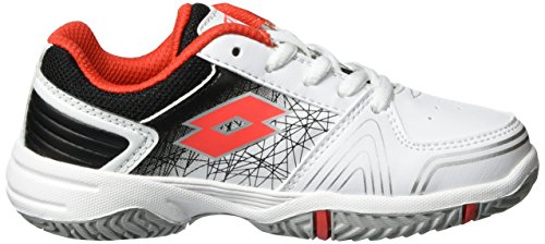 Lotto Sport T-Strike Ii Cl L, Chaussures de Tennis Mixte Enfant Blanc (Wht/red Ree)