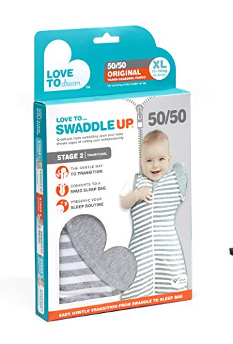 Love To Dream Swaddle UP- 50/50- Gray Stripe-X-large 24-30.5 lbs