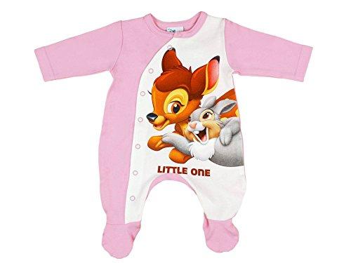 Mädchen Baby-Strampler mit Füßchen, Disney Bambi mit Klopfer in GRÖSSE 50, 56, 62, 68, 74, Baby-Schlafanzug LANG-ARM mit Druck-Knöpfen, Spiel-Anzug für Neugeborene, SUPER SÜSS Größe 74