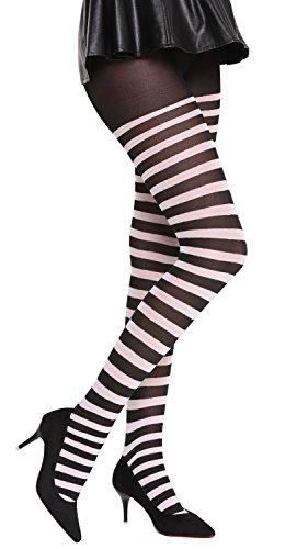 -blackwhite Strumpfhose Pantyhose Halloween Karenval schwarz weiß gestreift Ringelstrümpfe Okapi-Knastbraut ()