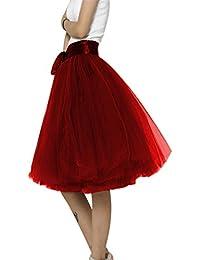 MIOIM® Falda Corto 6 Capa de Gasa Tul Falda Danza Ballet Falda A-lìnea Cintura Elástica Tutú Princesa Midi Falda de Tul Skirt para Mujer / Muchacha