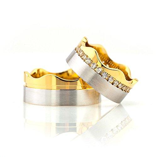 Juwelier Schönschmied- DamenZwei schöne Silberringe (925 Sterling), Verlobungsringe, Eheringe Bicolor Queen Silber Zirkonia Weiß NrS35HD