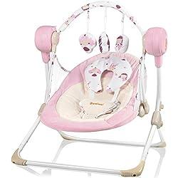 Balançoire électrique Baninni pour bébé et pour petite fille - Stellino - Rose - Automatique - Avec de nombreuses fonctions