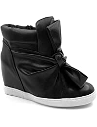 f1a572192d0af Angkorly Scarpe Moda Sneaker Zeppa Donna Papillon Lucide Tacco Zeppa 9 cm