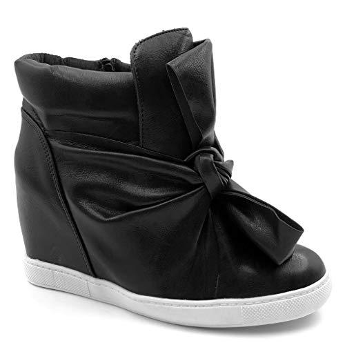 Angkorly - Scarpe Moda Sneaker Zeppa Donna Papillon Lucide Tacco Zeppa 9 CM - Nero 88-115 T 38