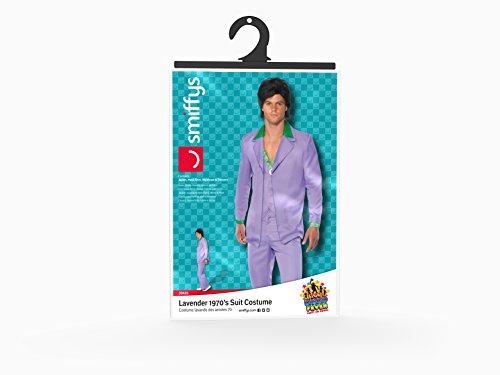 Lavendel 1970er Jahre Anzug Kostüm Jacke mit Mock Hemd und Weste Hose, Large - 5