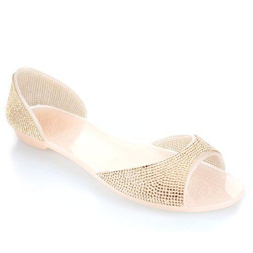 Aarz Femmes Mesdames Soirée Casual Flat Diamante doux Jelly Slipper Chaussures Taille (noir, champagne, blanc) Champagne