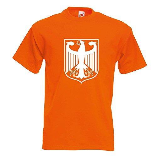 KIWISTAR - Bundeswappen Deutschland Rahmen T-Shirt in 15 verschiedenen Farben - Herren Funshirt bedruckt Design Sprüche Spruch Motive Oberteil Baumwolle Print Größe S M L XL XXL Orange