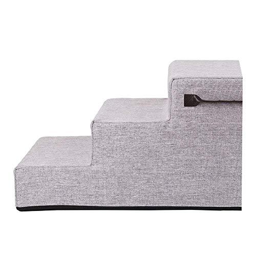 Haustiertreppen/Stufen für Katzenhunde, Pet 3 Stufen für Couch-Hochbettsofa, abnehmbare Abdeckung und rutschfeste Unterseite (Color : Gray) (Couch Pet-abdeckung)