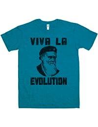 Refugeek Tees - Hommes Viva La Evolution T Shirt - Large - Antique Sapphire
