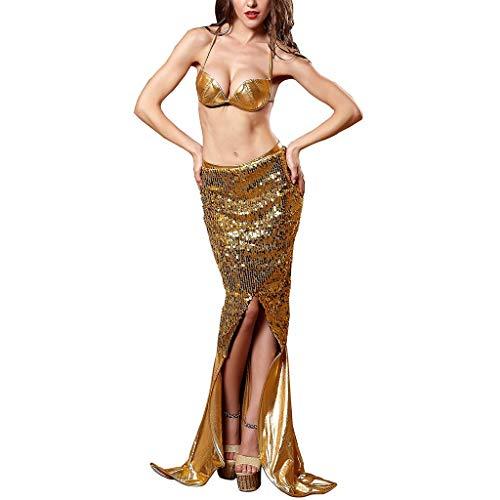 Frucht Cocktail Kostüm - ✿✿ Amlaiworld Meerjungfrau Pailletten Rock Shell BH Kostüm Cocktailkleid Frauen Beauty Kleider Sommer lang Abendkleider