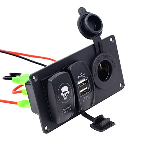 Resistente al agua LED 12V-24V Interruptor Panel 5pines con doble USB enchufe...