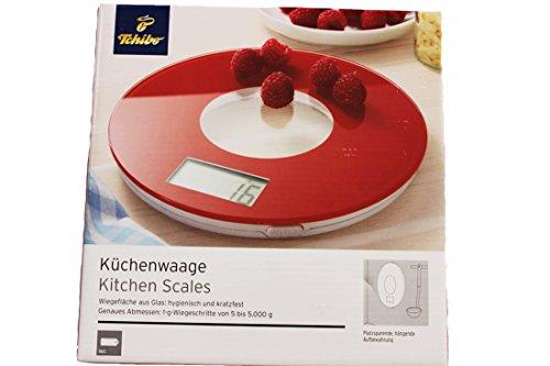 Tchibo TCM Küchenwaage Waage Kitchen Scales aus Glas rot