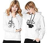 Best Friends Hoodies Für 2 Mädchen Sister Pullover Mit Kapuze Beste Freunde Pullover Pullis Teenager Mädchen Weiß Schwarz Geschenk 2 Stücke(Weiß,bai-M+HEI-S)