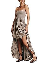 Entrega gratis Mujeres hombro cuello halter color solido swing cintura imperio plisado vestido largo en capas dobladillo Strap Back