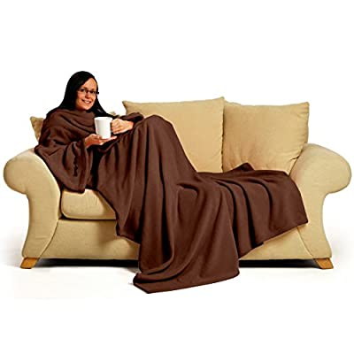 "Snug-Rug Deluxe Coral Fleece... The Blanket with Sleeves, Adult 60"" x 84"" - Chocolate produced by Gift House International Ltd - quick delivery from UK."