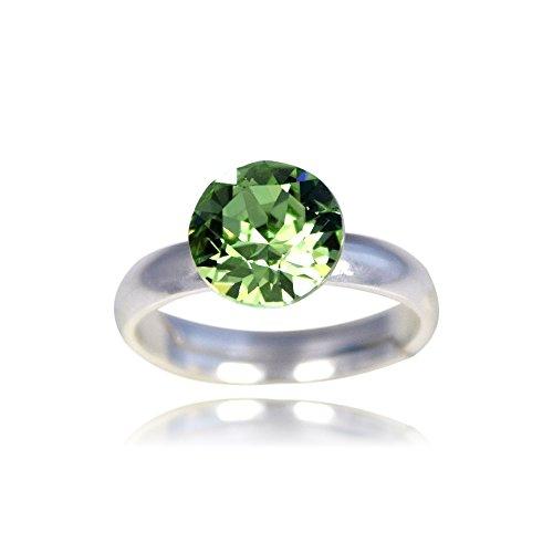 Crystals & Stones Ring *XIRIUS* *VIELE FARBEN* Swarovski® Elements - 925 Sterling Silber Damen Ring Größe Verstellbar! Sheer elegante Ring! PIN/75 (Perdiot) (Sheer Grün)