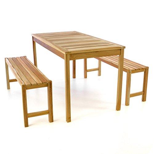 Divero Gartenmöbelset Picknickset Sitzgruppe Teakholz Bank Tisch Natur Behandelt 135cm wählbar (Natur)