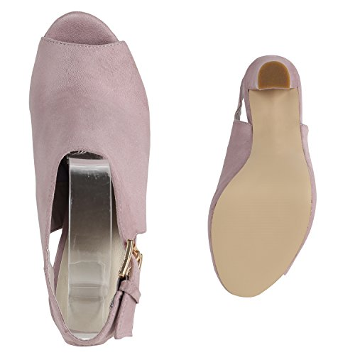 Damen Sandaletten Plateau Blockabsatz High Heels Schuhe Rosa Total