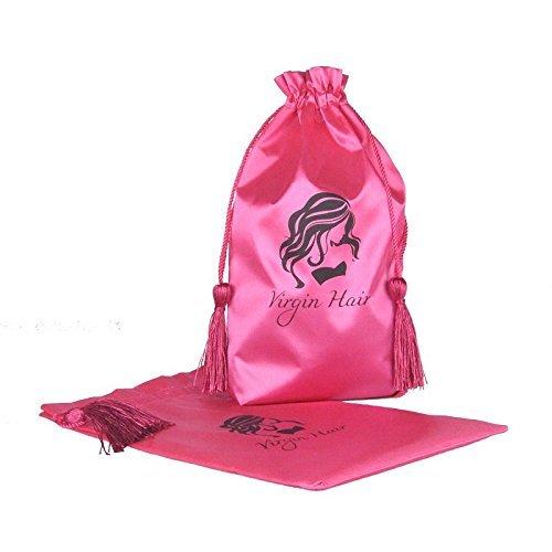 jetdio Virgin Hair Verpackung Tasche mit Kordelzug, Haar Verlängerung Bündel Satin Tasche mit Quaste, 5Stück, pink -