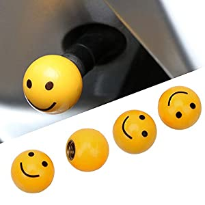 HANO 4pcs Universal-lächelndes Gesicht Auto-LKW-Fahrrad-Reifen-Luftventilkappen Felgen