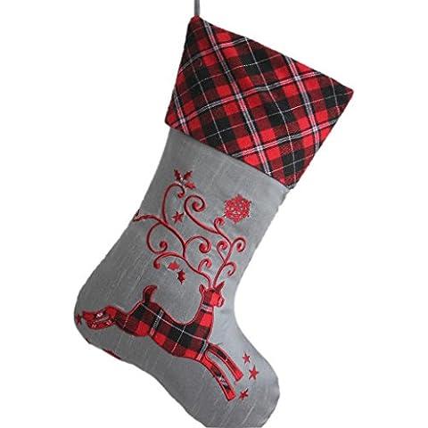 SORRENTO tinta in tessuto con ricami, motivo: renna, Plaid scozzese, corpo rigido 26,67 cm *(10,5-Calza di Natale data di consegna %2F3-7 44,45 (17,5 cm, colore: argento