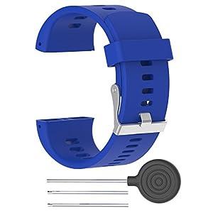 Correa polar v800 Correa de silicona ajustable de repuesto Rejoicing, para reloj inteligente Polar V800 con herramienta (reloj no incluido), azul