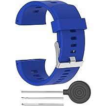 Correa de reloj de recambio–suave silicona hebilla de metal correa de hebilla de reloj muñeca reloj banda pulsera para polar V800GPS reloj deportivo con herramientas, color azul