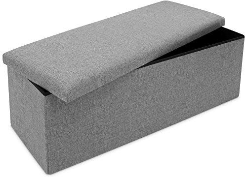 Faltbare Sitzbank mit Extra Stauraum - Grau 110 x 38 x 35 cm - Praktische Aufbewahrungsbox mit Sitzpolster - Grinscard
