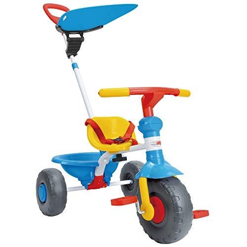 ChromeWheels Dreiräder für Kinder, mit Baldachin, verstellbarem Schiebegriff und großem praktischen Korb, Geeignet für Kinder von 1 bis 3 Jahren, Blau