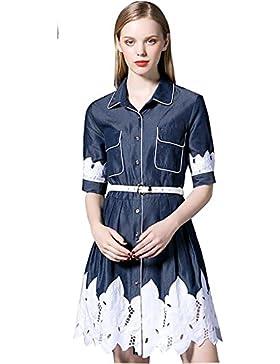 2017 verano nueva moda de alta gama femenina bordó el vestido de camisa vaquera , blue , l