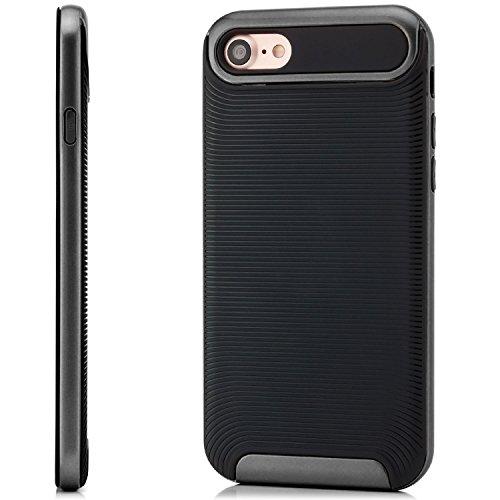 Coque iPhone 7 Housse Etui TPU Silicone Case Cover [zanasta Ultra Hybrid] avec Bumper une protection de bord supplémentaire Noir-Argent Noir-Gris