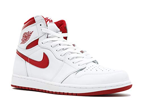 Jordan Nike Men's Air 1 Retro High OG White/VarsityRed 555088-103 (Size: 13)