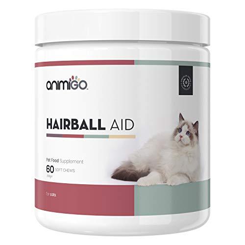 Animigo Haarball Hilfe für Katzen | Mit Psyllium, Kürbiskernen und Leinsamen | Ballaststoffreicher Anti-Haarball Katzensnack | Haarball Katze | 60 Weiche Kausnacks