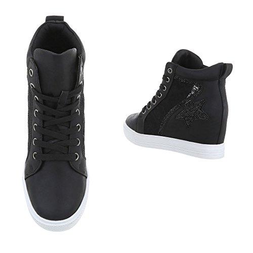 Scarpe da donna Sneaker zeppa Sneakers high Ital-Design Schwarz JK-53