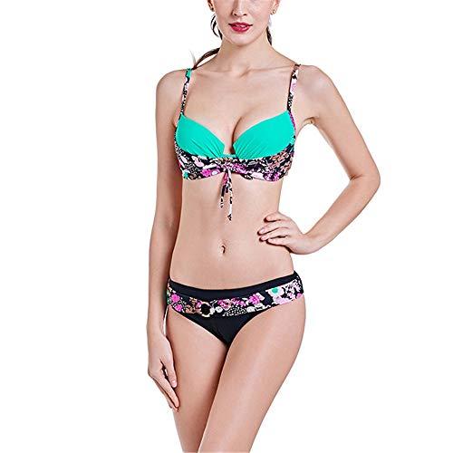 Kostüm Top Prominente - Goodvk-cl Damen Badeanzüge Plus Size Damen Bikini Set Damen Top & Bottom Beachwear mit Stahlunterstützung Push Up Swimwear Bikini-Set (Farbe : Grün, Größe : XXL)