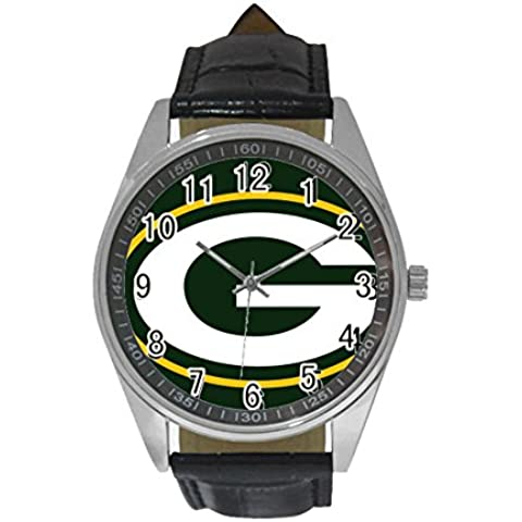 Oksana generic print Green Bay Men's Casual Leather Strap Watch