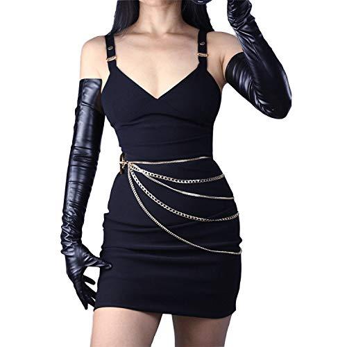 DooWay Damen Handschuhe, Kunstleder, extra lang, 68,6 cm, Schwarz glänzend, ungefüttert, 1 Paar