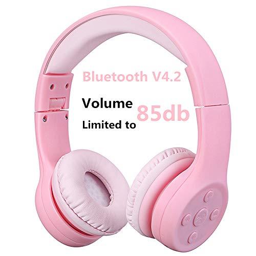 Bluetooth Kopfhörer Kinder, Hisonic Leicht kopfhörer Bluetooth Kopfhörer für Kinder mit Laustärkebegrenzung Verstellbare Leicht Tragbare Headset auch Mikrofon Funktion. (Rosa 01) - Iphone Jungen Blau Fall 4 Für