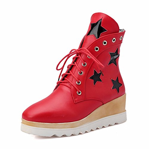 RFF-Women's Shoes Big Size Women's Shoes, Thick Bottom Stars, Student Girls, Fashion Heel, Short Boots,Gules,39