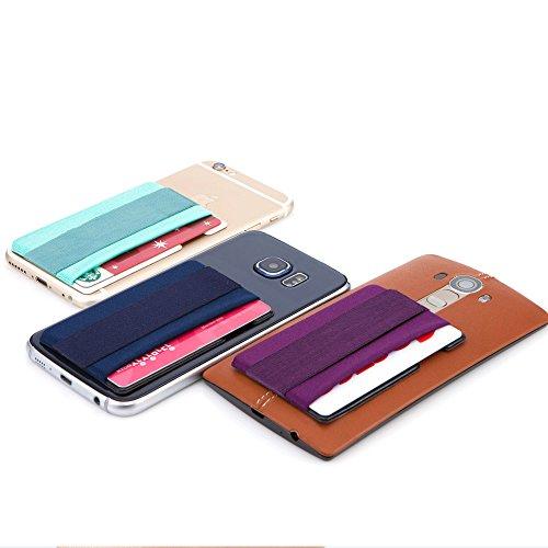 Smart Wallet mit Handy Fingerhalterung, Sinjimoru Slim Wallet Kartenhalter / aufklebbare Mini Geldbörse mit Fingerschlaufe für die Einhandbedienung. Sinji Pouch Band, beige Pouch und beige Schlaufe. Pinkes Pouch und pinke Schlaufe