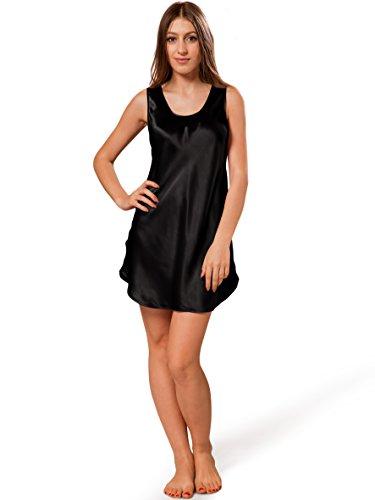 ELLESILK Damen Seide Nachthemd, Kurz Negligé aus Höchste Qualität Maulbeerseide, Hypoallergen, Schwarz, M (Seide Negligé)