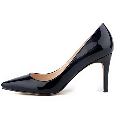 Femmes Pompes Talons hauts Fashion Pointed Toe Femmes Chaussures Talons Minces Pompes 10cm Talons hauts Chaussures Rouge Femme Black
