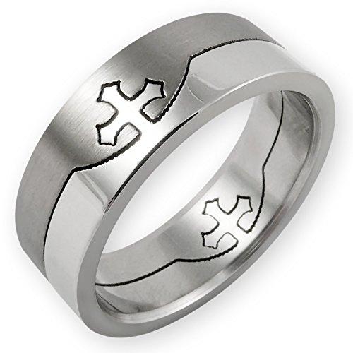 Fly Style® - Edelstahl Puzzle Ring - Templerkreuz, Ring Grösse:19.1 mm