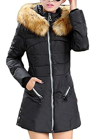 Blansdi longue Veste d'hiver Blouson matelassée manteau à capuche en fausse fourrure Parka long hiver Chaude