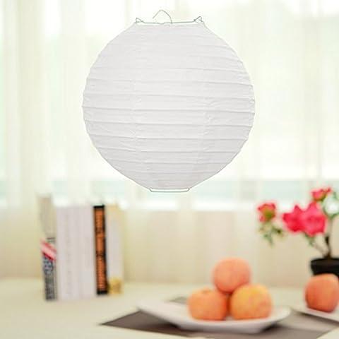 Lugii Cube Décoration de fête de mariage chinois/japonais Home lanternes en papier rondes lampe Nuances, blanc